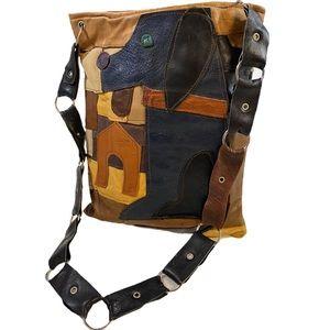 VINTAGE Patchwork Leather Dog Shoulder Tote Bag